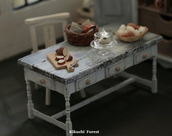 Handmade Dollhouse Furniture  Kitchen - Kitchen Table  - 1/12 Dollhouse Miniature Scale