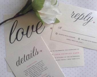 Shimmering Rustic, Simple Love Wedding Invitation Set