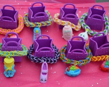 Shopkins Party Favor Pack Of Rainbow Loom Bracelets In  teal Shopkins Bags