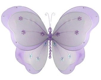 "PURPLE 5"" Chloe Butterfly Decoration - hanging nylon butterfly nylon butterfly decor, small hanging butterfly, wall decor"