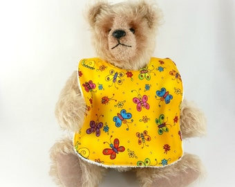 Baby Infant Dribble, Feeder Bib - Yellow Butterfly Cotton Fabric, Bamboo Toweling backed, Snap Fastened, Adjustable.