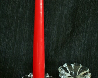 Stunning Pair of Vintage Glass Crystal Taper Candle Holders - Approximately 1.5 x 3 inches