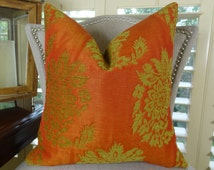 Designer Orange Decorative Throw Pillow Cover - Orange Citrine Green Floral Geometric Pillow - Orange Geometric Couch Pillow - 11053