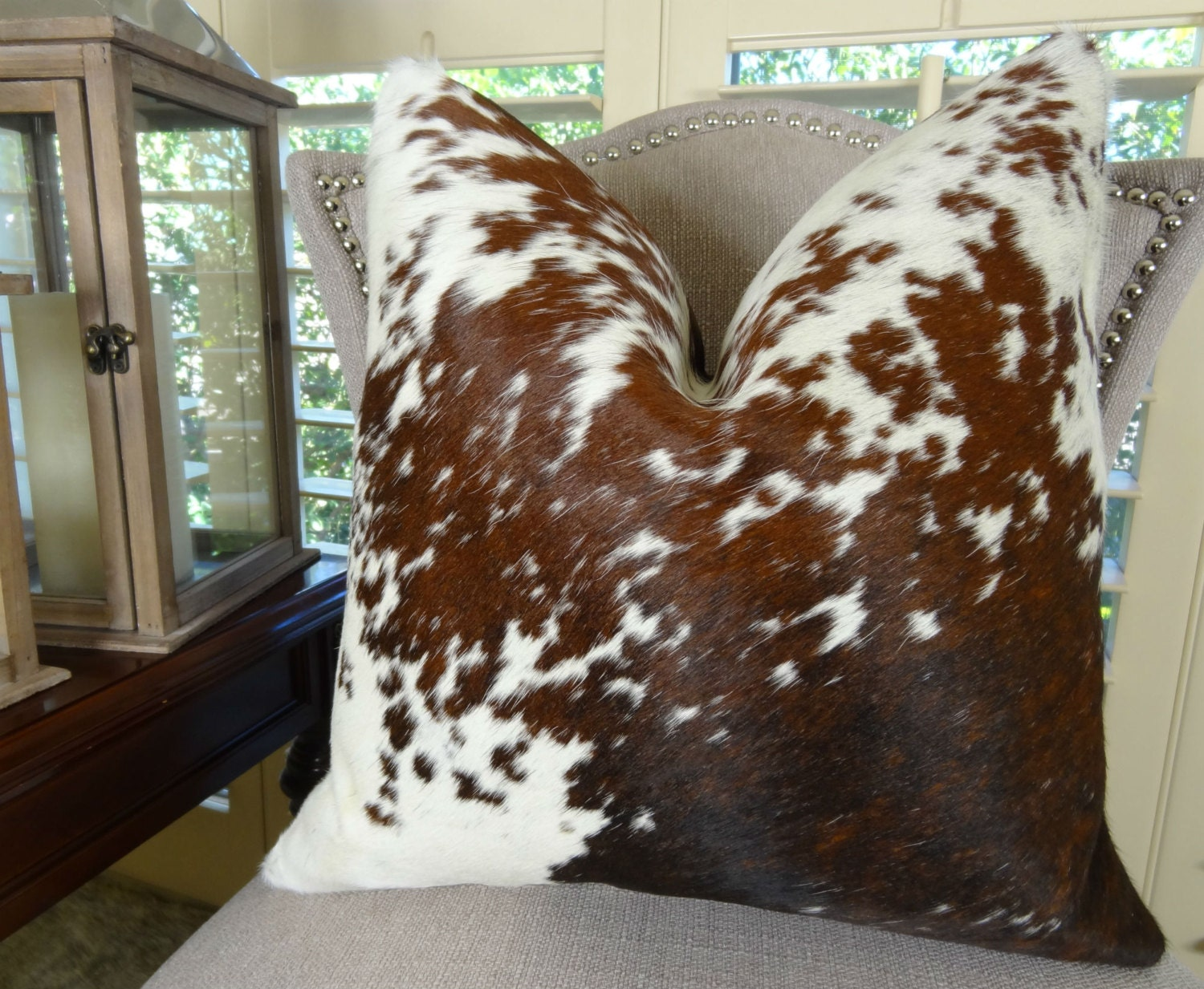 Decorative Cowhide Throw Pillow Cover Brown White Cowhide