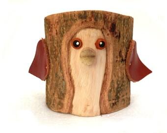 Bird Pencil Holder Office Organizer Rustic Pencil Holder Bark Wood Pencil Cup Wood Holder Log Holder Rustic Office Decor Tree Bark Crafts
