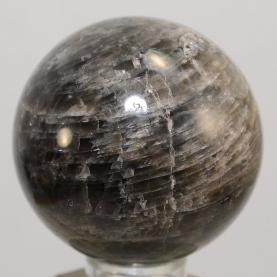 60mm Rare Black Moonstone Sphere Striped Feldspar Mineral ...