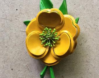 Retro Yellow Enamel Flower Brooch