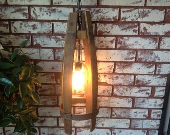 Repurposed barrel staves & wine bottle light
