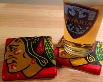 Chicago Blackhawks Coasters ~  Set of 4 Stone Coasters ~Coasters ~ Natural Stone Tile Coasters ~ Hockey Coasters
