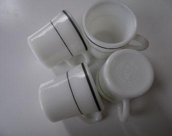 6 Small Corning milk glass mugs