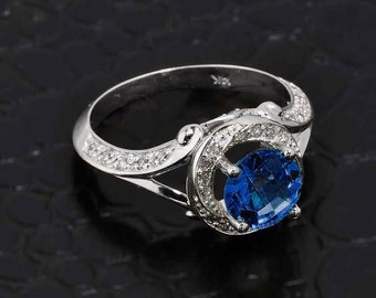 Blue Sapphire Ring, White Gold Diamond Blue Sapphire Halo Engagement Ring, Cubic Zirconia Blue Sapphire Ring, White Gold Pave Diamond Ring