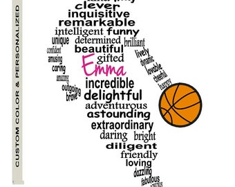 Personalized Girl Basketball Player Art Unique Handmade Word Art