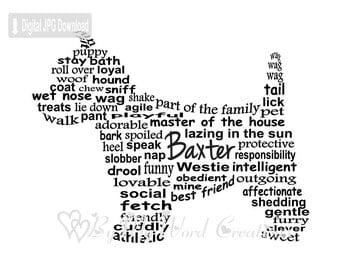 Westie Dog Art, Pet Art, Westie Dog Word Art, Dog Art, Pet Keepsake, Personalized Word Art Typography, PRINTABLE DIGITAL FILE