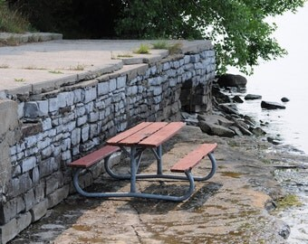 Stone Wall Photo, Nature Photography, Picnic Table Photo, Lake, Nature Stock Photography, Old Wall Photo, Home Decor Photo, Fine Art Photos