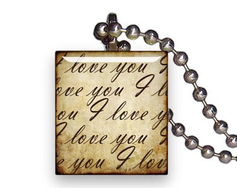 I Love You Text Script Vintage - Reclaimed Scrabble Tile Pendant Necklace