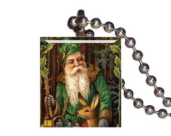 Vintage Christmas Old Elf Toy Maker - Reclaimed Scrabble Tile Pendant Necklace