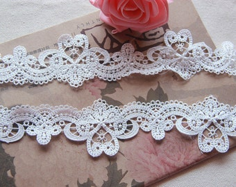 White Floral Lace Trim Embroidery Hollow Out Lace Retro Trim 1.96 Inches Wide 2 Yards L0343