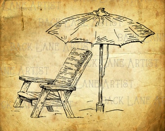 Beach Chair UmberllaDoodle Clipart Lineart Illustration Instant Download PNG JPG Digi Line Art Image Drawing L611