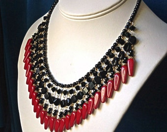 Dramatic Red and Black Fringe Statement Necklace