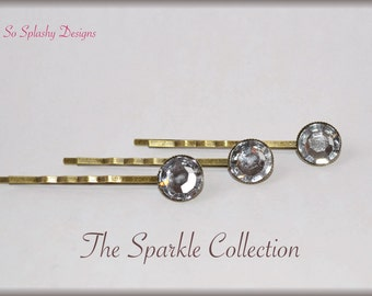 Sparkle Bobby Pins. Embellished bobby pin, jewel bobby pin, decorative bobby pins, hair pins, stocking stuffer, gift for her