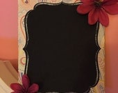 Chalkboard hanging sign with flowers, flower, flourish, chalkboard, chalkboard sign, wall decor, flourishes, home decor, decor, wired sign