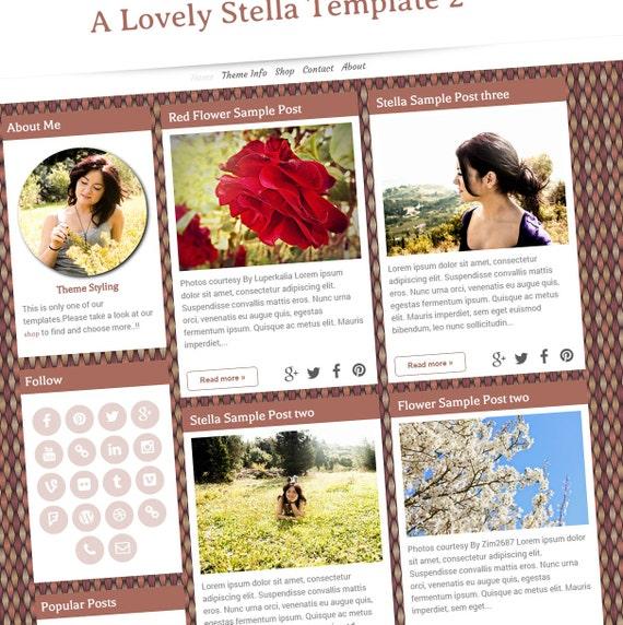 Premade Blogger Template Stella Template Blogger Columns 2
