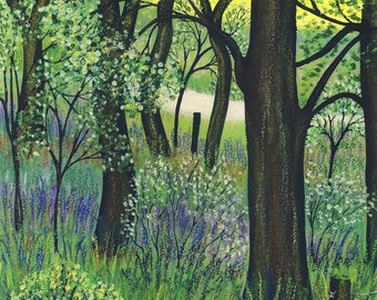 "Greetings card - ""Jenny's song"" -spring card, spring landscape, jenny wren, bluebell wood, woodland scene, from a painting by Liz Clarke"
