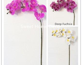 JennysFlowerShop 23'' Mini Latex Real Touch Phanaenopsis Orchid Spray (12 Flower Heads)