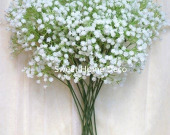 JennysFlowerShop 22'' Soft White Real Touch Realistic Baby's Breath/Gypsophila Artificial Single Spray