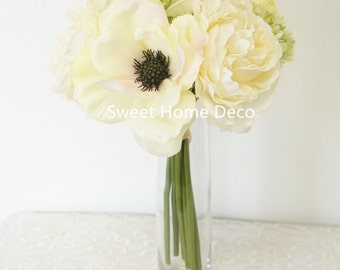 JennysFlowerShop 10'' Blooming Peony and Anemone Silk artificial Wedding Bridal Bouquet/ Home Flower, Cream