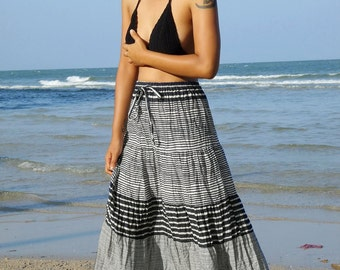 Long Maxi Skirt-Gypsy-Boho-Lightweight-Black Striped