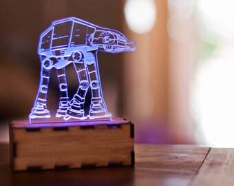 AT-AT Walker lamp, Star Wars lamp, Star Wars night light lamp, Star wars office, star wars desk accessory