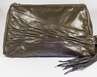 Vintage 1980's olive green tassel bag