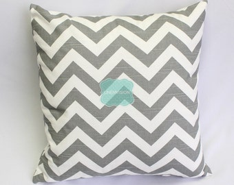Pillow Cover - Premier Prints - ZIG ZAG - Ash Grey & White Slub - Home Decor Sofa Throw Pillow-Cover with Zipper Enclosure - All Sizes