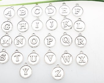 "Own Charm ~-26 Alphabet Letter Charms Antique Tibetan Silver Tone Great for So Many Proje""A-Z "" Charms Pendant 6*11MMct,"
