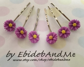 Cute flower bobby pins - set of 6 in Purple Daisies - cute bobby pins, bridesmaid, flower girl, wedding, wedding hairpin, wedding bobbypin
