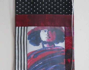 Small wall hanging - Madonna Pocket with printed and appliqued fabric