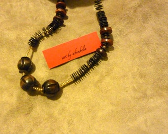 Wooden beads necklace with gold seed beads