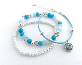 Blue White Silver Bracelet, Crystal Pearl Bracelet, Blue White Crystal  Charm Bracelet, Blue White Silver Jewelry