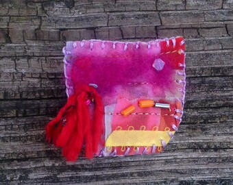 Pink Silk Brooch Red Tassel Crystal Beaded Hand-Painted Textile Jewelry