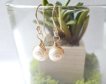 14K gold wire wrapped pearl earrings
