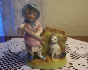 Vintage Cache Pot with Little Girl and her Dog Figurine, Japan