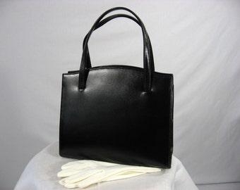 Vintage 1960s Lesco Lona black leather purse handbag