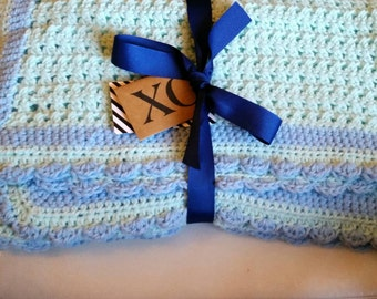 Blue and Aqua Baby Blanket