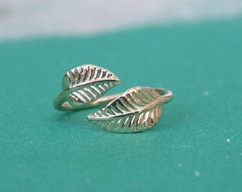 Two Wrap Leaves Ring, Adjustable Ring, 14K Yellow Gold Plated Ring