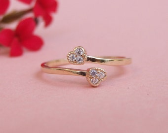 Two Wrap CZ Hearts Ring, Adjustable Ring, 14K Yellow Gold Plated, Bridesmade Ring