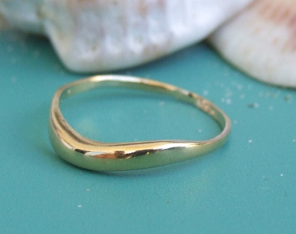gold wave ring gold band ring yellow gold ring
