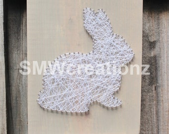 Custom Rabbit String Art-12 x 9 1/4-Easter- Home Decor- Bunny Art