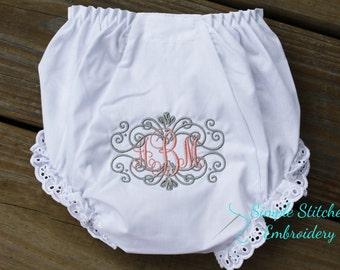 Monogrammed Eyelet Ruffle Baby Panties