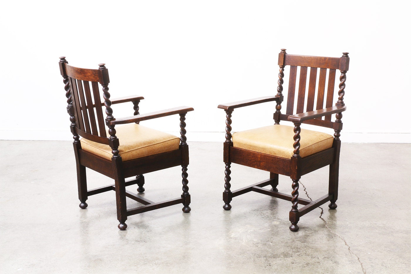 antique mission twist arm chairs for stickley pair